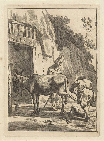Herd Drawing - Farrier, Specialist In Equine Hoof Care, And A Donkey by Anonymous And Karel Dujardin