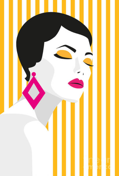 Natural Digital Art - Fashion Girl. Bold, Minimal Style. Pop by Mary stocker