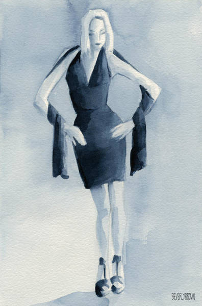 Painting - Fashion Illustration Art Print Woman In Blue Dress Front by Beverly Brown