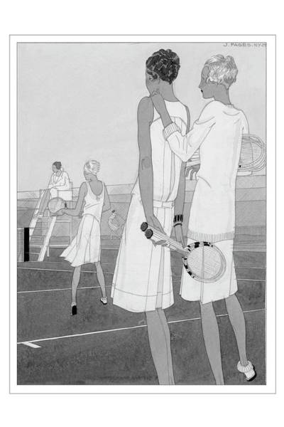 Sports Digital Art - Fashion Illustration Of Women On A Tennis Court by Jean Pages