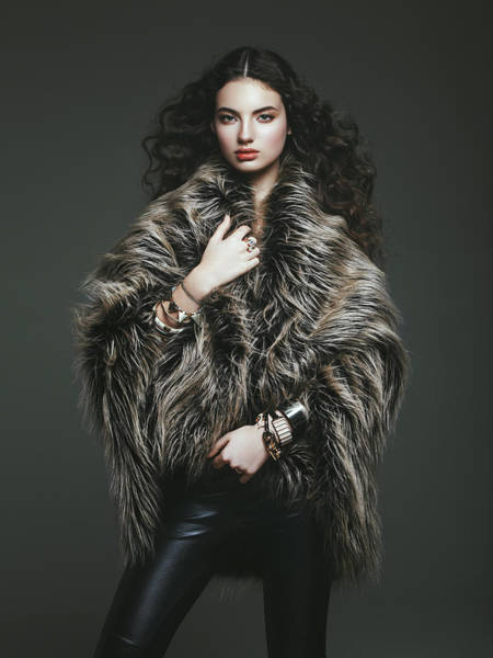 Lambada Photograph - Fashion Model In Fur Coat by Lambada