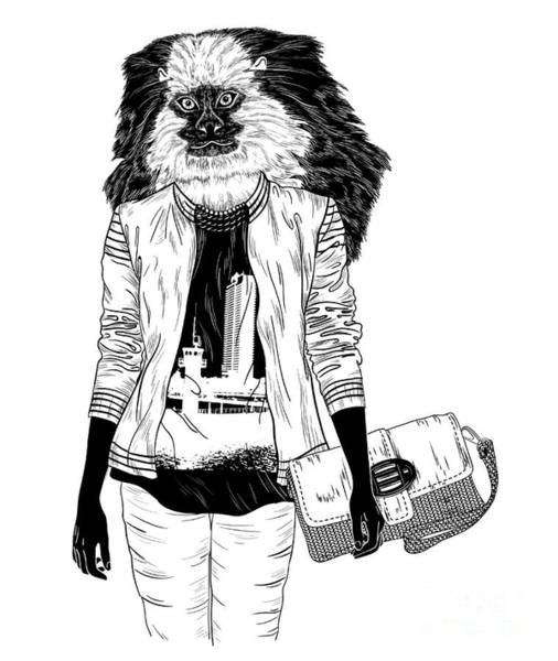 Cool Digital Art - Fashion Monkey With Bag For Poster Or by Mirifada