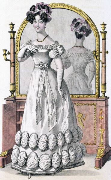 Old Style Drawing - Fashion Plate Of A Lady In Evening by English School