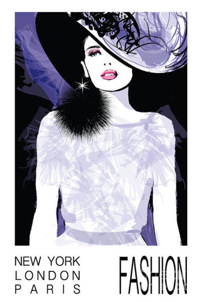 Fashion Woman Model With A Black Hat - Art Print