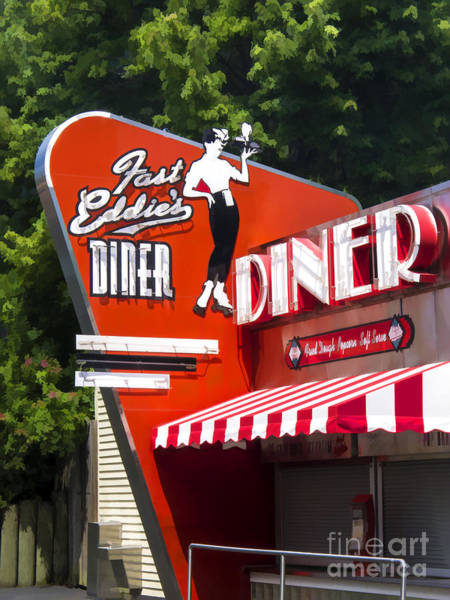 Diner Wall Art - Painting - Fast Eddies Diner Art Deco Fifties by Edward Fielding
