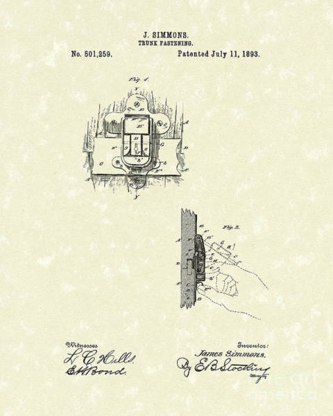 Drawing - Fasteners 1893 Patent Art by Prior Art Design
