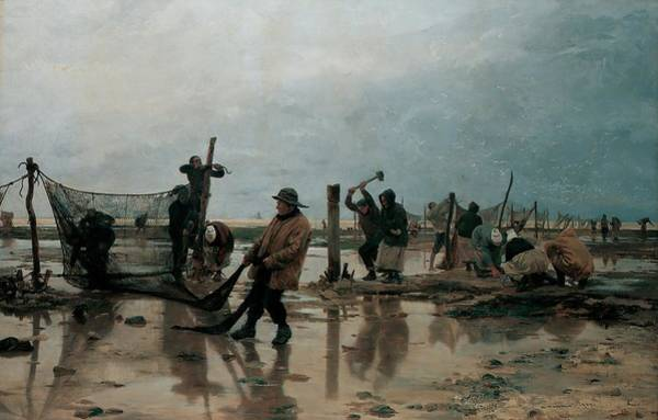 Preparation Painting - Fastening The Nets by Edouard Joseph  Dantan