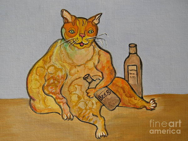 Fat Cat Painting - Fat Cat And Beer by Ella Kaye Dickey