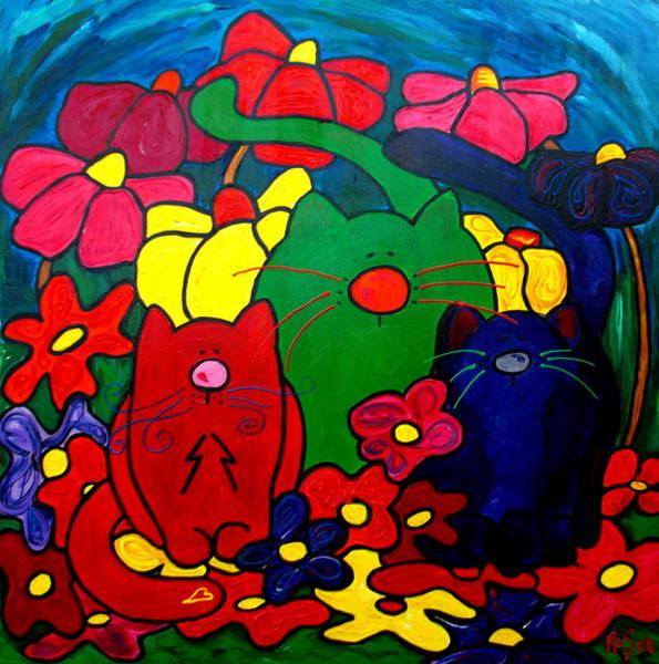 Painting - Fat Cats In My Garden by Patti Schermerhorn