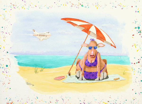 Fat Cow On A Beach 1 Art Print