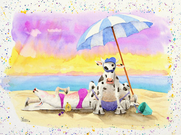 Fat Cows On A Beach 2 Art Print
