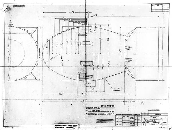 Wall Art - Photograph - Fat Man Atomic Bomb Blueprint by Los Alamos National Laboratory