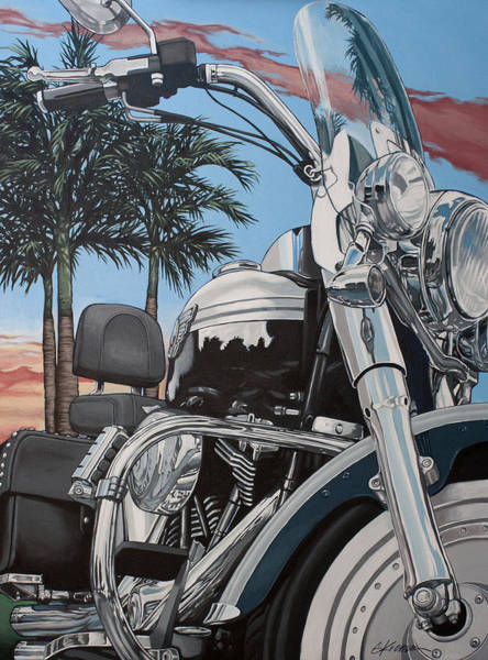Harley Motorcycle Wall Art - Painting - Fatboy Sunset by Gary Kroman