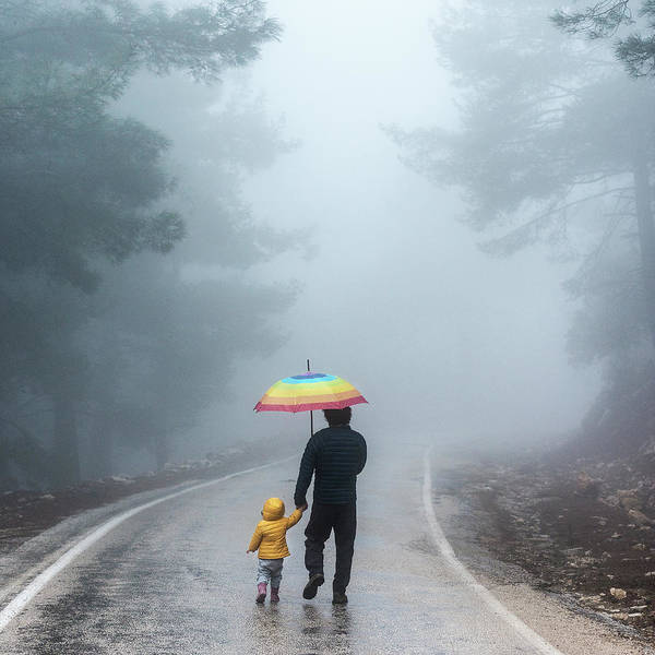 Single Parent Wall Art - Photograph - Father And Daughter Walking Away Into A by Ozgur Donmaz