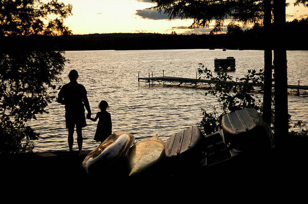 Father And Daughter Watch A Sunset On Art Print