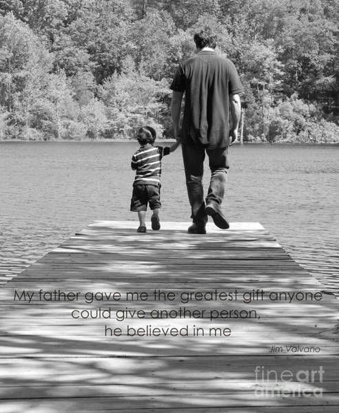 Photograph - Father And Son Black White by Andrea Anderegg