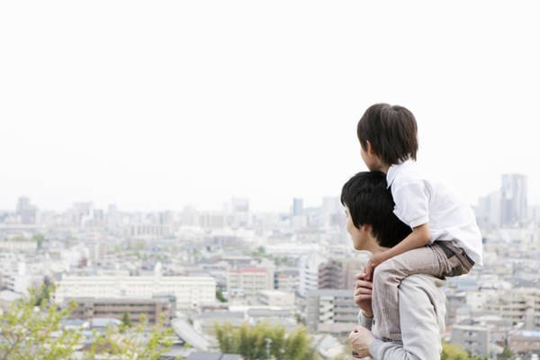 Father And Son On A Hill Art Print by Kohei Hara
