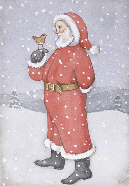 St Nicholas Painting - Father Christmas And A Robin by Lavinia Hamer