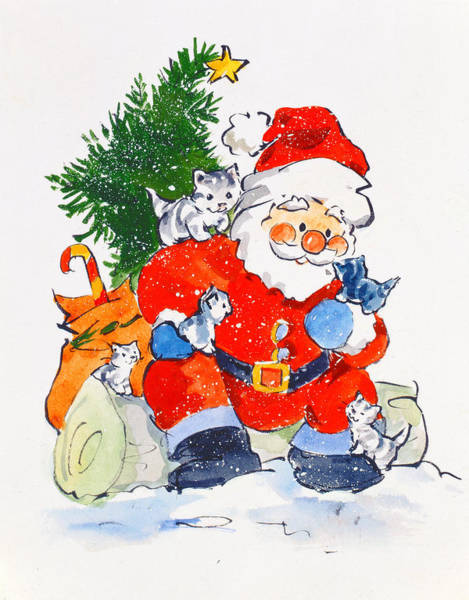 Christmas Card Painting - Father Christmas And Kittens, 1996  by Diane Matthes