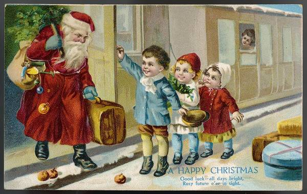 Wall Art - Drawing - Father Christmas Arrives By Train by Mary Evans Picture Library