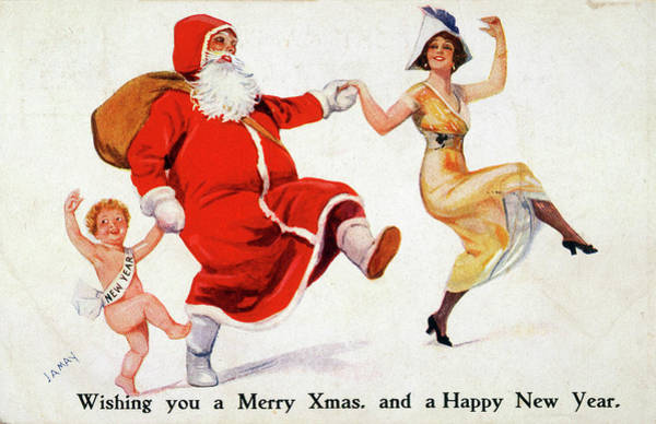 Traditional Dances Drawing - Father Christmas Dances With A  Woman by Mary Evans Picture Library