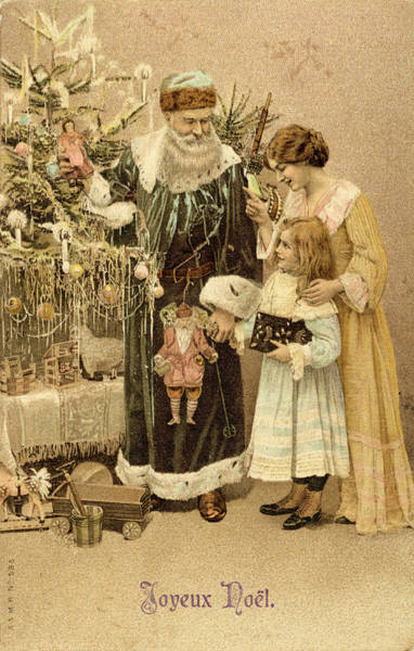 Wall Art - Drawing - Father Christmas Help Small  Girl by Mary Evans Picture Library