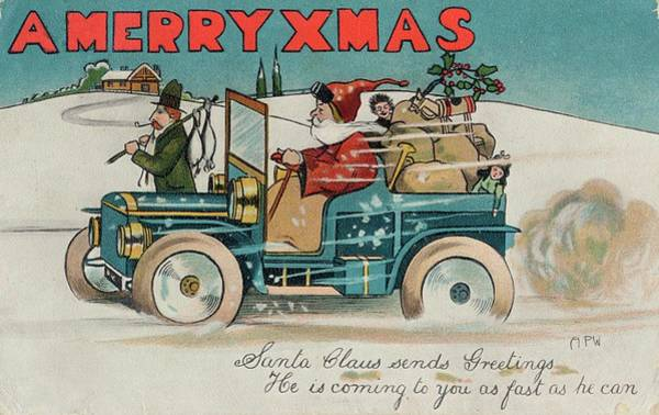 Wall Art - Drawing - Father Christmas In A Car Laden by Mary Evans Picture Library