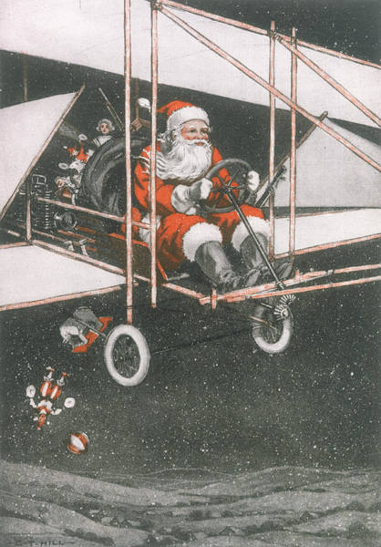 Wall Art - Drawing - Father Christmas In An Aeroplane by Mary Evans Picture Library