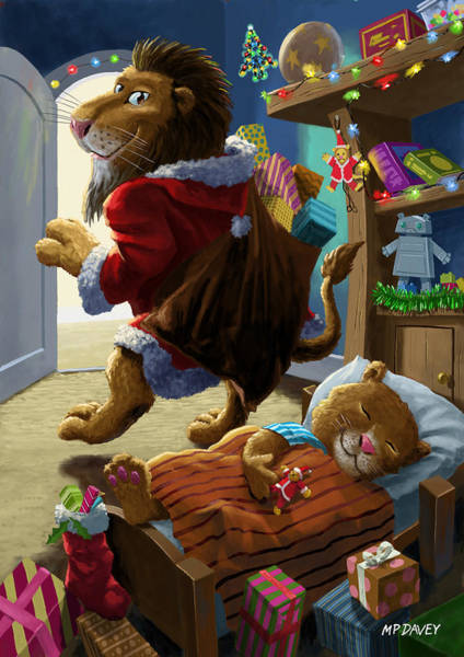 Digital Art - Father Christmas Lion Delivering Presents by Martin Davey