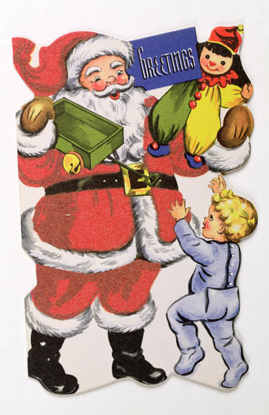 Happy Boy Painting - Father Christmas, Victorian Christmas Card by English School