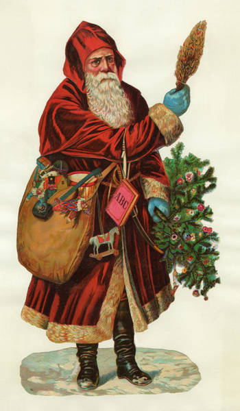 Wall Art - Drawing - Father Christmas With Is  Sackful by Mary Evans Picture Library