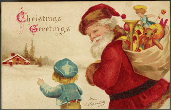 Wall Art - Drawing - Father Christmas With Presents by Mary Evans Picture Library