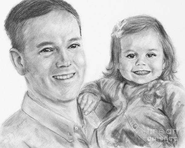 Drawing - Father Daughter Portrait by Kate Sumners