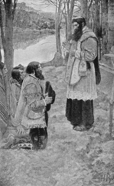 Brandywine Wall Art - Photograph - Father Hennepin Celebrating Mass, Illustration From La Salle And The Discovery Of The Great West by Howard Pyle