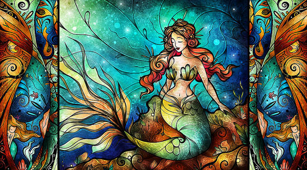 Mixed Media - The Serene Siren Triptych by Mandie Manzano