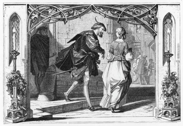 Wall Art - Drawing - Faust And Marguerite Watched by Mary Evans Picture Library