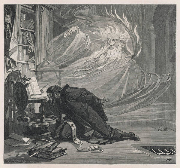 Wall Art - Drawing - Faust Is Tormented With Doubts by Mary Evans Picture Library