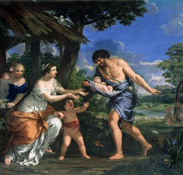 Shepherds Photograph - Faustulus Entrusting Romulus And Remus To His Wife Acca Larentia, C.1643 Oil On Canvas by Pietro da Cortona