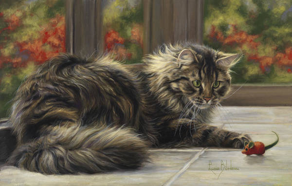 Domestic Cat Wall Art - Painting - Favorite Toy by Lucie Bilodeau