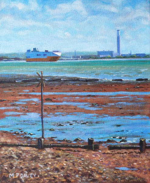 Wall Art - Painting - Fawley Power Station From Weston Shore Hampshire by Martin Davey