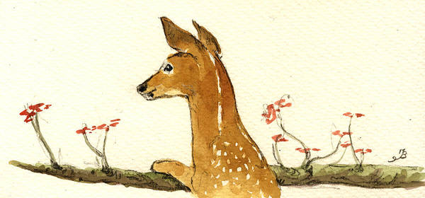 Bambi Wall Art - Painting - Fawn by Juan  Bosco