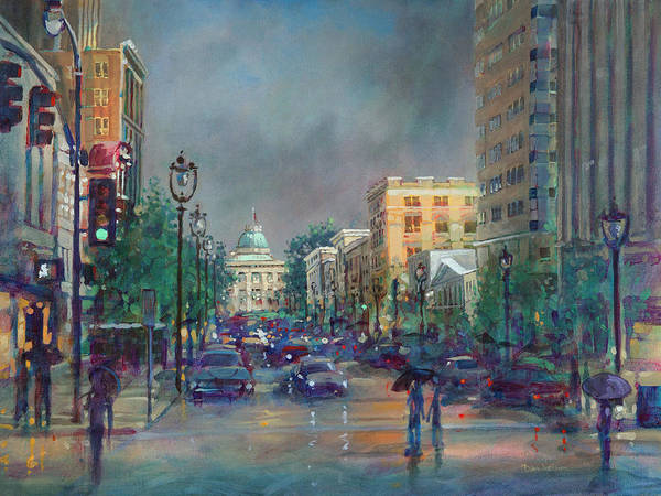 Wall Art - Painting - Fayetteville Street First Light by Dan Nelson