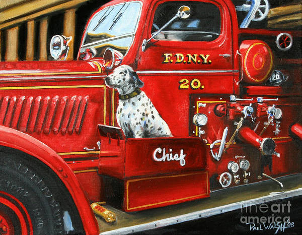 Vintage Fire Truck Painting - Fdny Chief by Paul Walsh