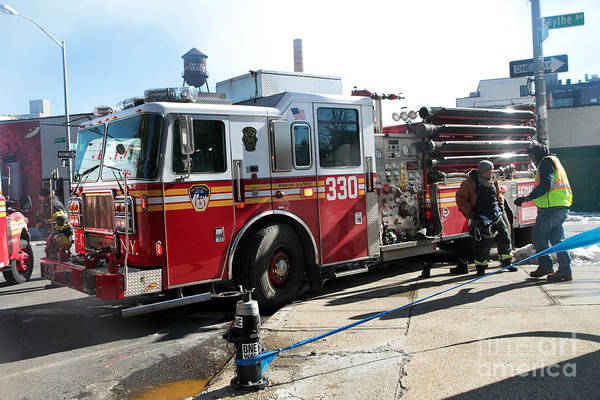 Photograph - Fdny Engine 330 At 7 Alarm Fire by Steven Spak