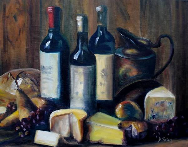 Bread And Wine Painting - Feast Still Life by Donna Tuten