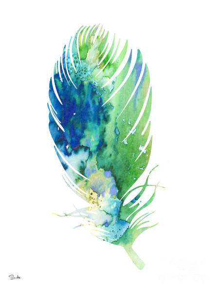 Archival Painting - Feather 2 by Watercolor Girl