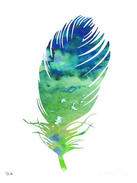 Archival Painting - Feather 3 by Watercolor Girl