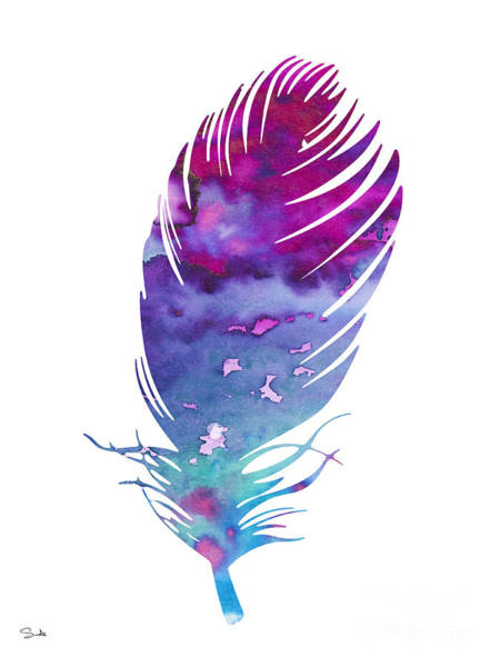 Cute Animal Wall Art - Painting - Feather 4 by Watercolor Girl