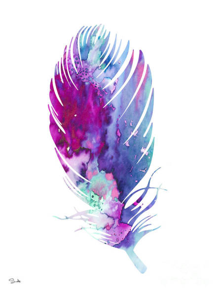 Animal Watercolor Wall Art - Painting - Feather 6 by Watercolor Girl
