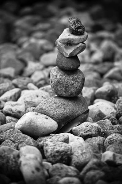 Balancing Rocks Photograph - Feather And Stones by Matthew Blum